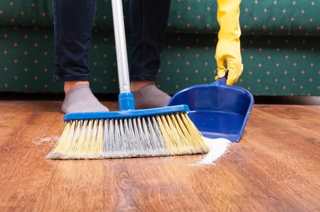 sweeping vinyl floor