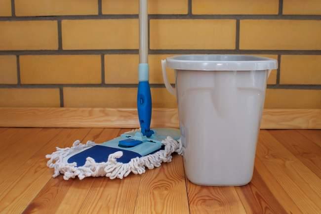 cork floor mopping