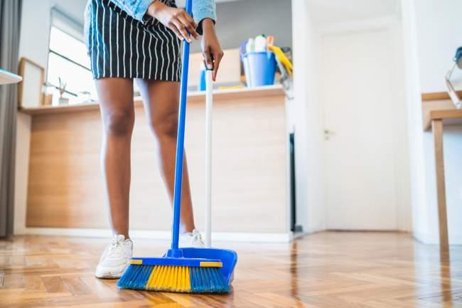 cork floor sweeping
